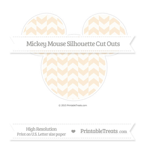 Free Antique White Herringbone Pattern Extra Large Mickey Mouse Silhouette Cut Outs