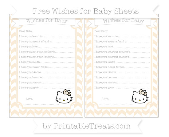 Free Antique White Herringbone Pattern Hello Kitty Wishes for Baby Sheets