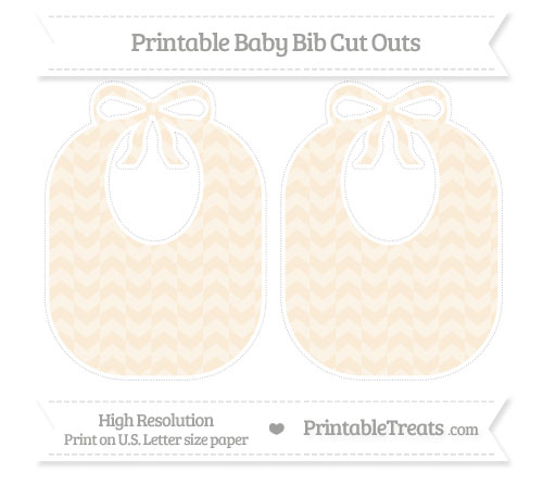 Free Antique White Herringbone Pattern Large Baby Bib Cut Outs