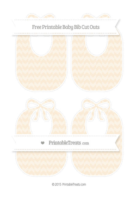 Free Antique White Herringbone Pattern Medium Baby Bib Cut Outs