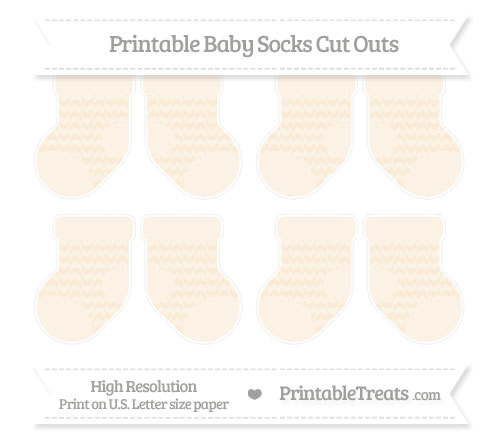 Free Antique White Herringbone Pattern Small Baby Socks Cut Outs