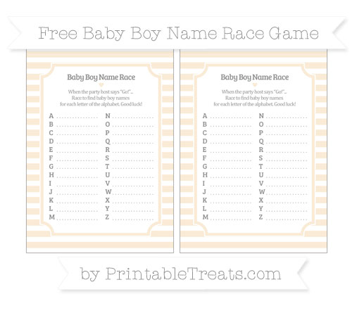 Free Antique White Horizontal Striped Baby Boy Name Race Game
