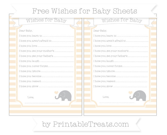 Free Antique White Horizontal Striped Baby Elephant Wishes for Baby Sheets