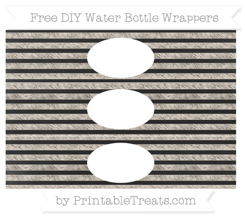 Free Antique White Horizontal Striped Chalk Style DIY Water Bottle Wrappers