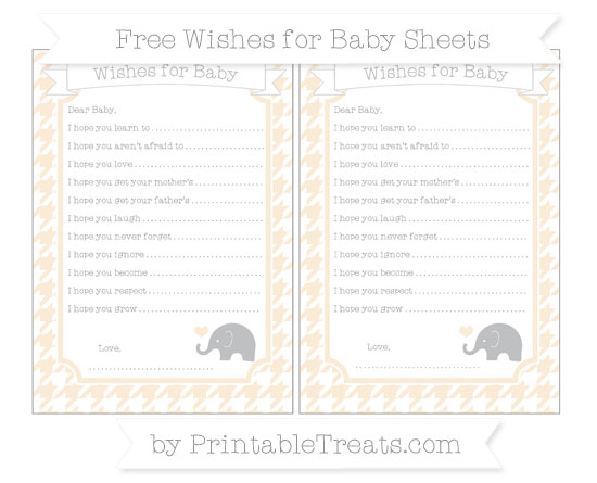 Free Antique White Houndstooth Pattern Baby Elephant Wishes for Baby Sheets
