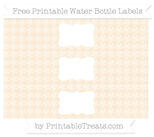 Free Antique White Houndstooth Pattern Water Bottle Labels