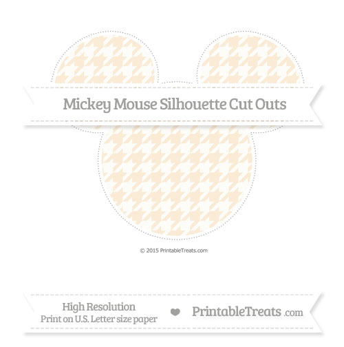 Free Antique White Houndstooth Pattern Extra Large Mickey Mouse Silhouette Cut Outs