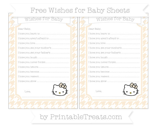 Free Antique White Houndstooth Pattern Hello Kitty Wishes for Baby Sheets