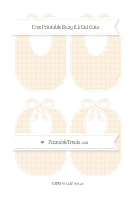 Free Antique White Houndstooth Pattern Medium Baby Bib Cut Outs