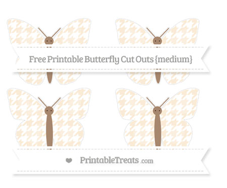 Free Antique White Houndstooth Pattern Medium Butterfly Cut Outs