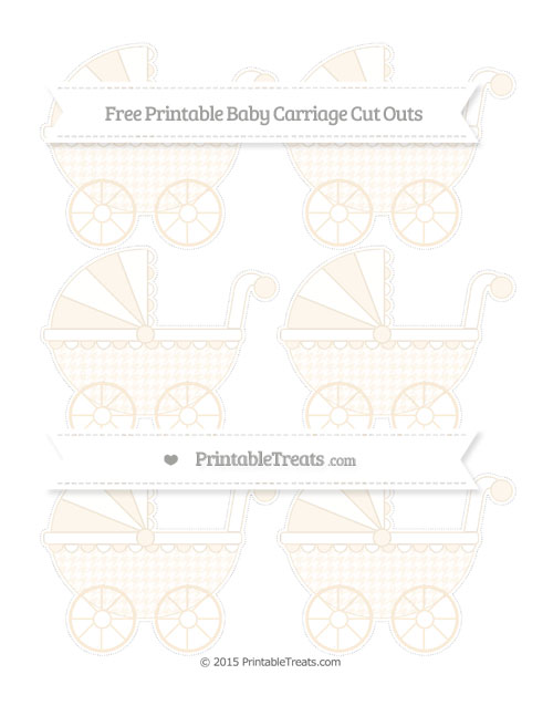 Free Antique White Houndstooth Pattern Small Baby Carriage Cut Outs