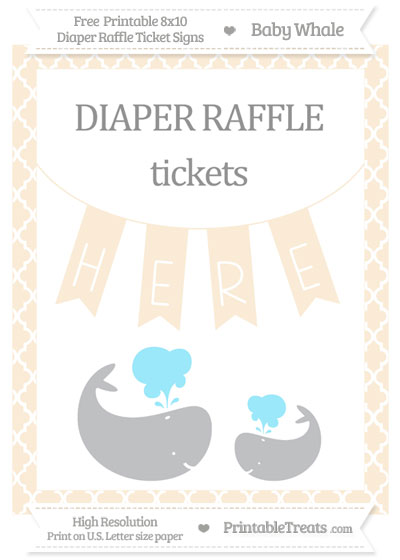 Free Antique White Moroccan Tile Baby Whale 8x10 Diaper Raffle Ticket Sign