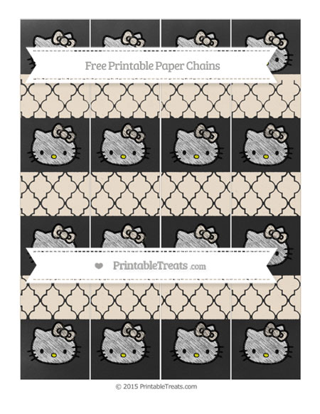 Free Antique White Moroccan Tile Chalk Style Hello Kitty Paper Chains