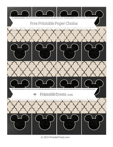 Free Antique White Moroccan Tile Chalk Style Mickey Mouse Paper Chains