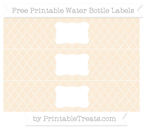 Free Antique White Moroccan Tile Water Bottle Labels