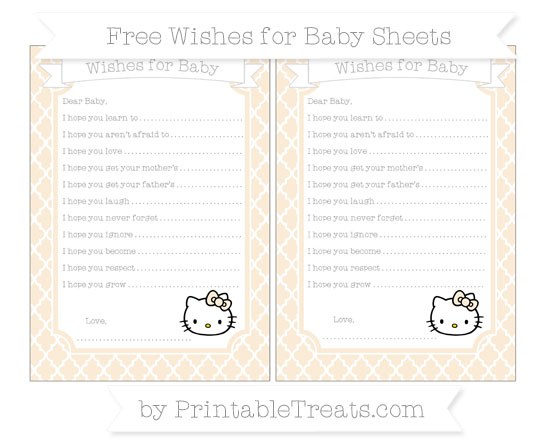 Free Antique White Moroccan Tile Hello Kitty Wishes for Baby Sheets
