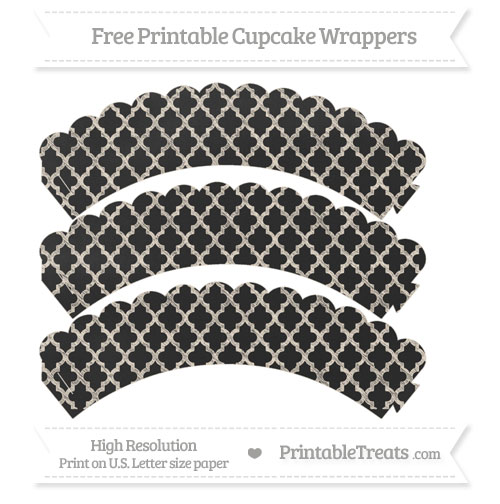 Free Antique White Moroccan Tile Pattern Chalk Style Scalloped Cupcake Wrappers
