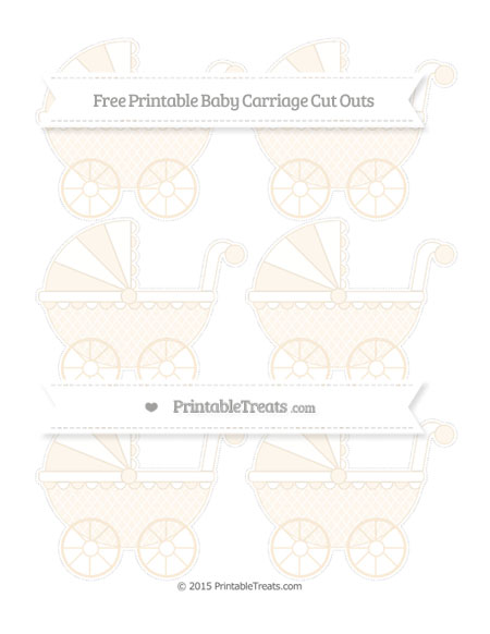 Free Antique White Moroccan Tile Small Baby Carriage Cut Outs