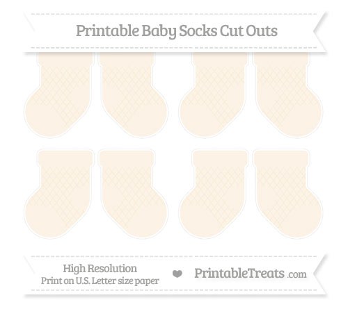 Free Antique White Moroccan Tile Small Baby Socks Cut Outs