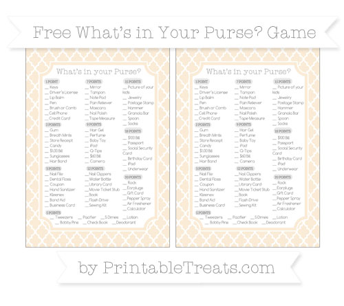 Free Antique White Moroccan Tile What's in Your Purse Baby Shower Game
