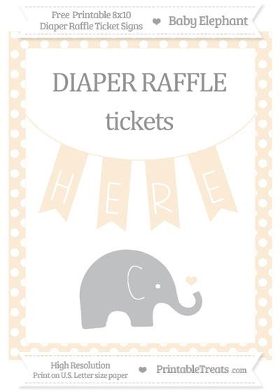 Free Antique White Polka Dot Baby Elephant 8x10 Diaper Raffle Ticket Sign