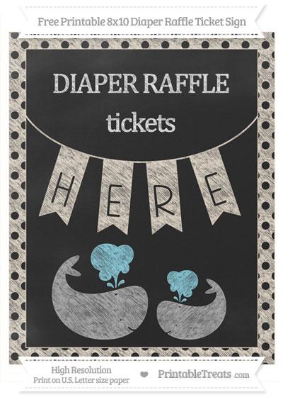 Free Antique White Polka Dot Chalk Style Baby Whale 8x10 Diaper Raffle Ticket Sign