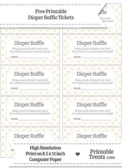 Free Antique White Polka Dot Diaper Raffle Tickets