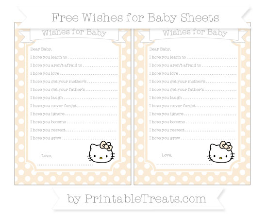 Free Antique White Polka Dot Hello Kitty Wishes for Baby Sheets