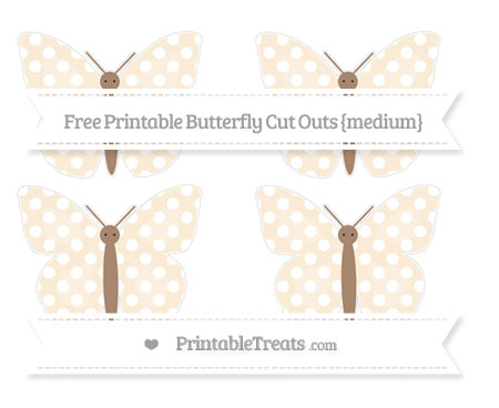Free Antique White Polka Dot Medium Butterfly Cut Outs