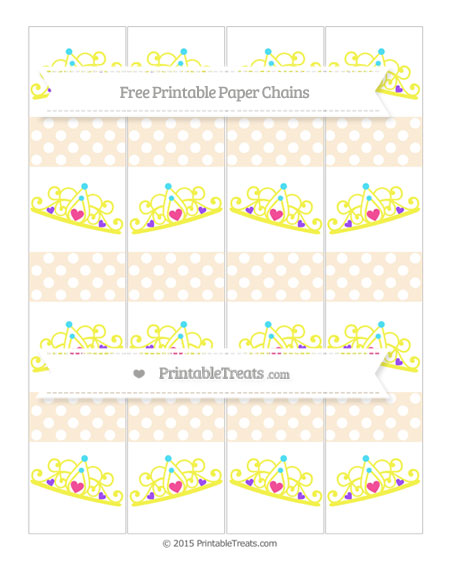 Free Antique White Polka Dot Princess Tiara Paper Chains