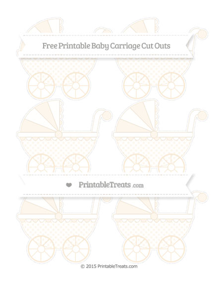 Free Antique White Polka Dot Small Baby Carriage Cut Outs