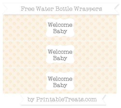 Free Antique White Polka Dot Welcome Baby Water Bottle Wrappers