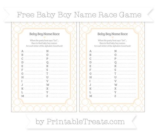 Free Antique White Quatrefoil Pattern Baby Boy Name Race Game