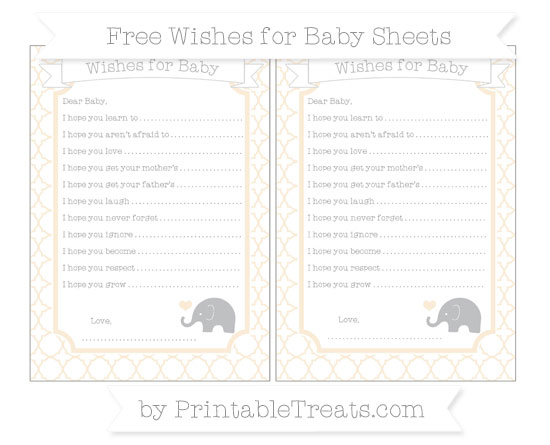 Free Antique White Quatrefoil Pattern Baby Elephant Wishes for Baby Sheets