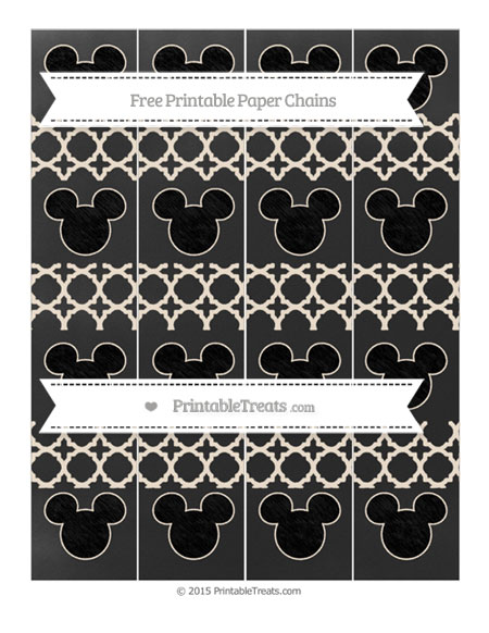 Free Antique White Quatrefoil Pattern Chalk Style Mickey Mouse Paper Chains