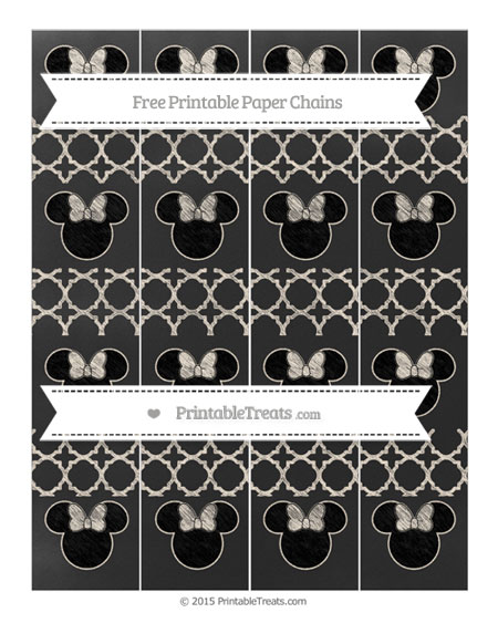 Free Antique White Quatrefoil Pattern Chalk Style Minnie Mouse Paper Chains