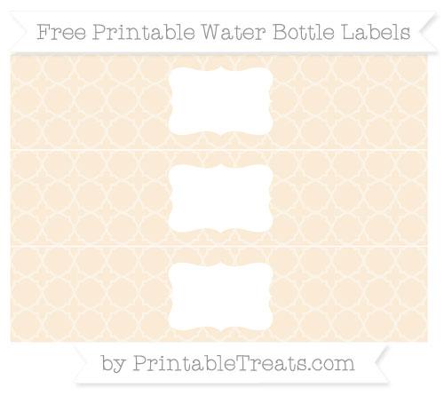 Free Antique White Quatrefoil Pattern Water Bottle Labels