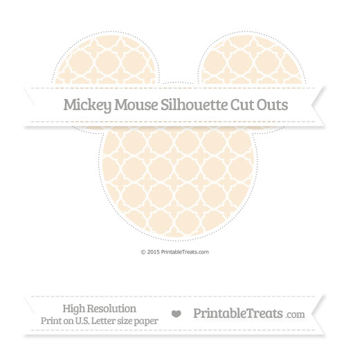 Free Antique White Quatrefoil Pattern Extra Large Mickey Mouse Silhouette Cut Outs