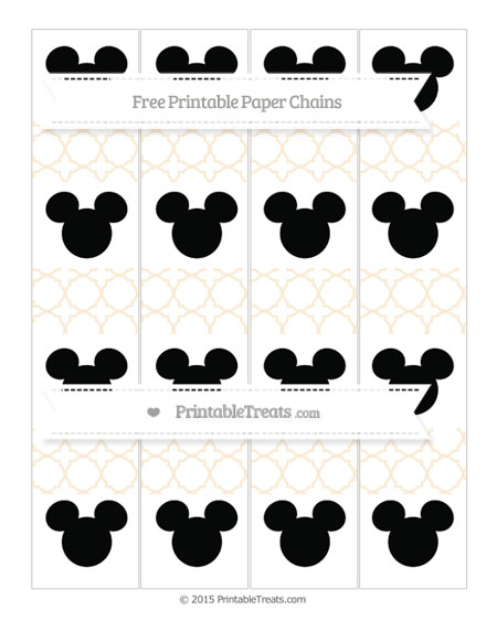 Free Antique White Quatrefoil Pattern Mickey Mouse Paper Chains