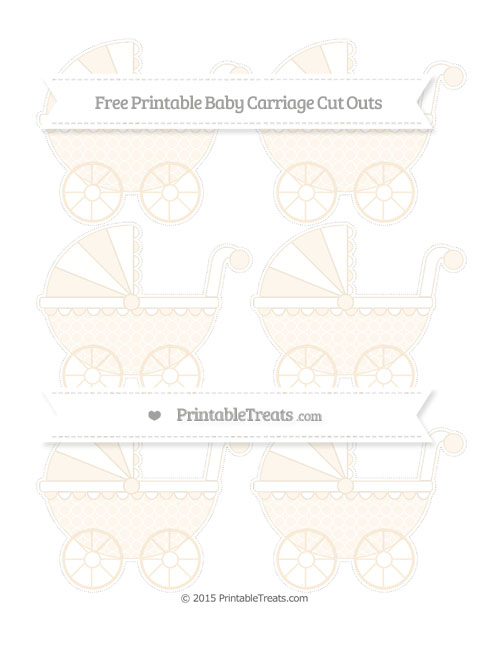 Free Antique White Quatrefoil Pattern Small Baby Carriage Cut Outs