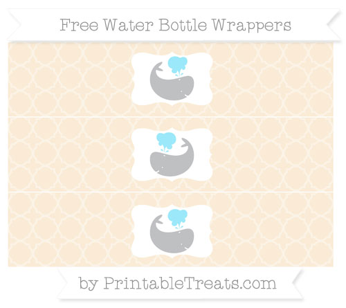 Free Antique White Quatrefoil Pattern Whale Water Bottle Wrappers