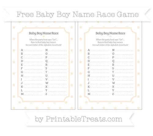 Free Antique White Star Pattern Baby Boy Name Race Game
