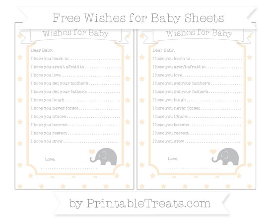 Free Antique White Star Pattern Baby Elephant Wishes for Baby Sheets