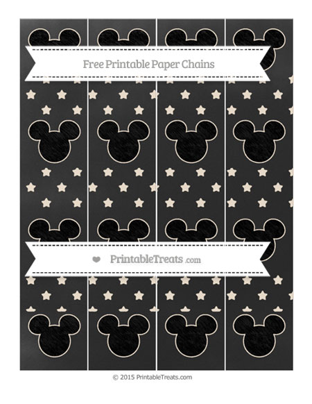 Free Antique White Star Pattern Chalk Style Mickey Mouse Paper Chains
