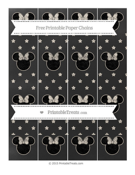 Free Antique White Star Pattern Chalk Style Minnie Mouse Paper Chains