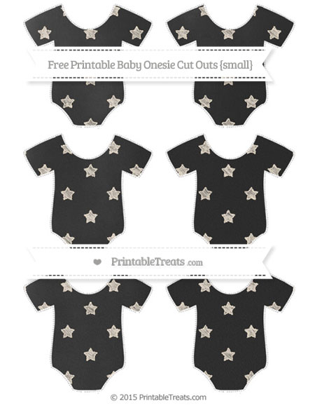 Free Antique White Star Pattern Chalk Style Small Baby Onesie Cut Outs