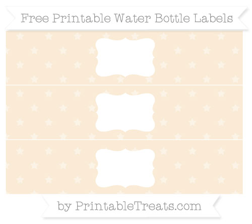 Free Antique White Star Pattern Water Bottle Labels