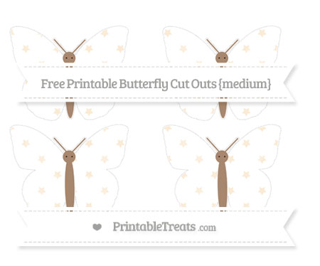 Free Antique White Star Pattern Medium Butterfly Cut Outs