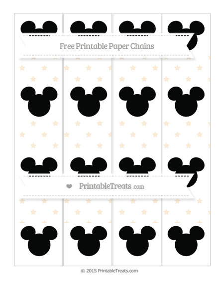 Free Antique White Star Pattern Mickey Mouse Paper Chains