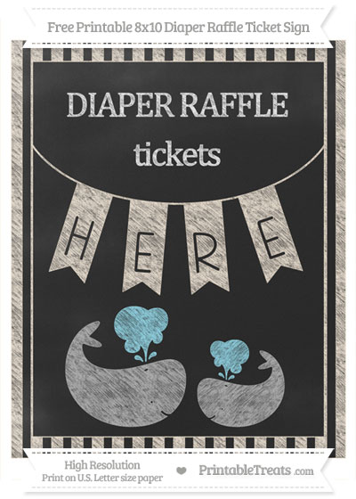 Free Antique White Striped Chalk Style Baby Whale 8x10 Diaper Raffle Ticket Sign